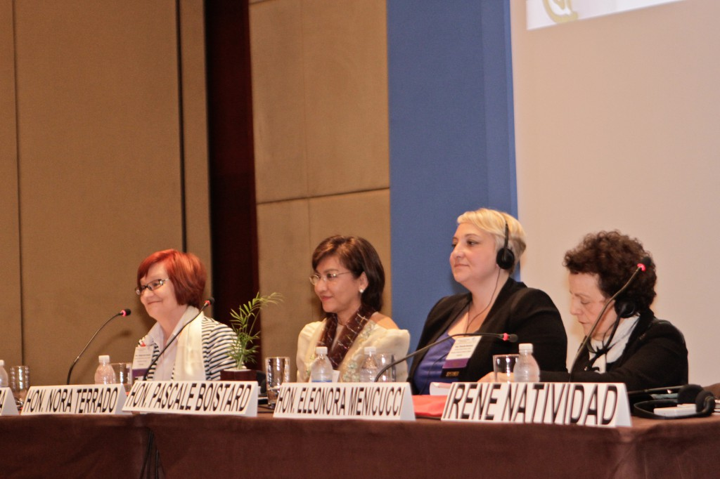 Hon. Malgorzata Fuszara, State Secretary for Equal Treatment (Poland), Hon. Nora Terrado, Undersecretary of Trade and Industry (Philippines), Hon. Pascale Boistard, State Secretary for Women's Rights (France), and Hon. Eleonora Menicucci, Minister of Policies for Women's Rights (Brazil).