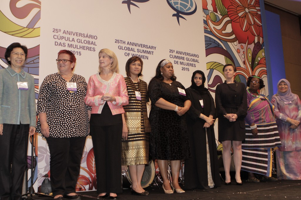 Hon. Donghua Zhao, Vice President, All-China Women's Federation (China), Hon. Elke Ferner, Parliamentary State Secretary (Germany), Hon. Natasha Stott Despoja, Ambassador for Women & Girls (Australia), Hon. Nora Terrado, Undersecretary of Trade & Industry (Philippines), Hon. Hendrietta Bogopane-Zulu, Deputy Minister of Social Development (South Africa), H.E. Dr. Maitha Salem Al Shamsi, Minister of State (UAE), Hon. Kellie Leitch, Minister of Labour & Status of Women (Canada), Hon. Elizabeth Thabethe, Deputy Minister of Small Business Development (South Africa), and Dato' Sri Rohani Abdul Karim, Minister of Women, Family, & Community Development (Malaysia).